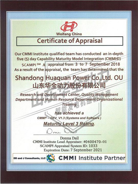 CMMI3 认证证书