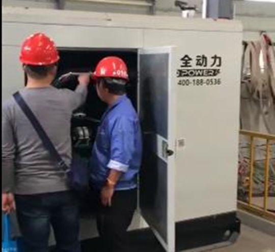 华全150kW燃气发电机组检修现场